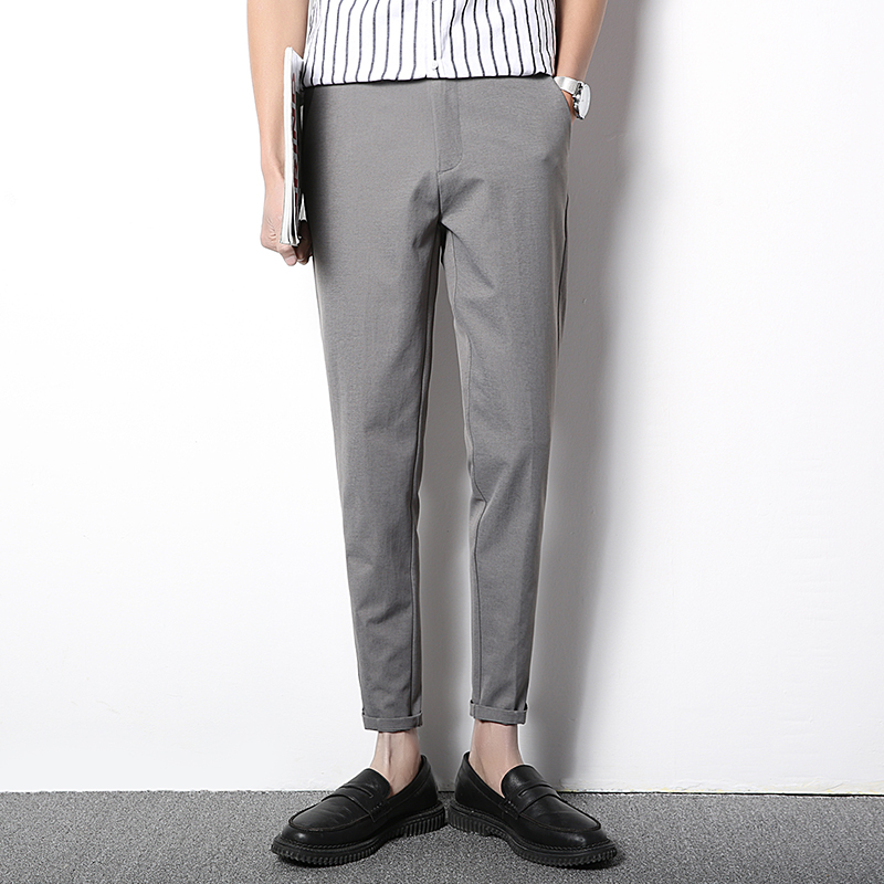 @方少男装 春季男士弹力休闲裤修身英伦风西裤潮流九分裤