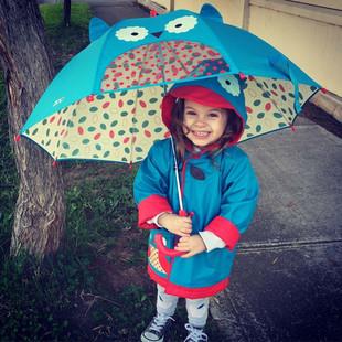 美国男女儿童透明卡通安全防夹雨伞