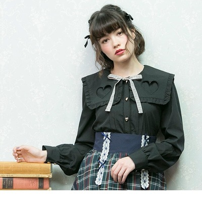 taobao agent New cute all-match lolita love hollow navy square neck bow tie long-sleeved bottoming shirt for women