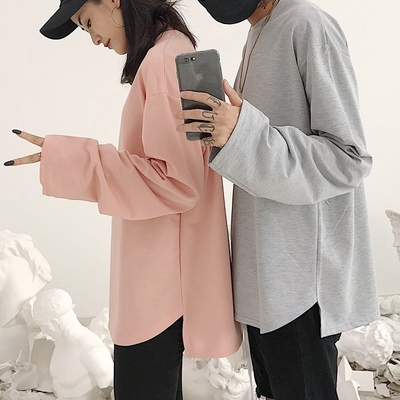 Hàn Quốc phòng thu Hàn Quốc với hem chia ngã ba màu dài tay áo thun áo len mỏng 18ss người đàn ông và phụ nữ mô hình áo thun nam đẹp Áo phông dài