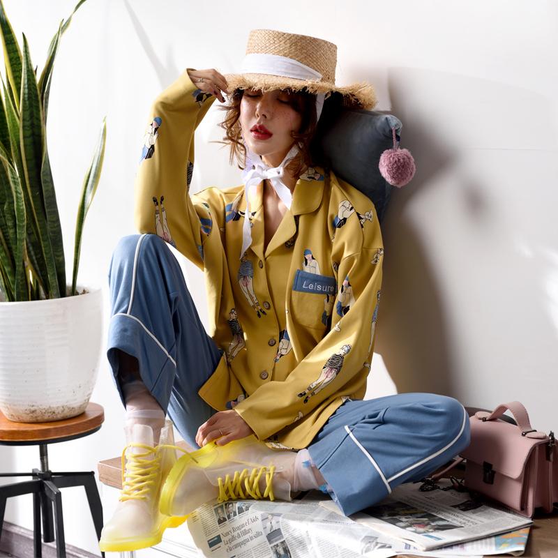 Bộ đồ ngủ của bà Sili cotton dài tay mùa xuân và mùa thu mỏng các mô hình có thể được đeo bên ngoài phiên bản Hàn Quốc của Harajuku dịch vụ nhà phù hợp với