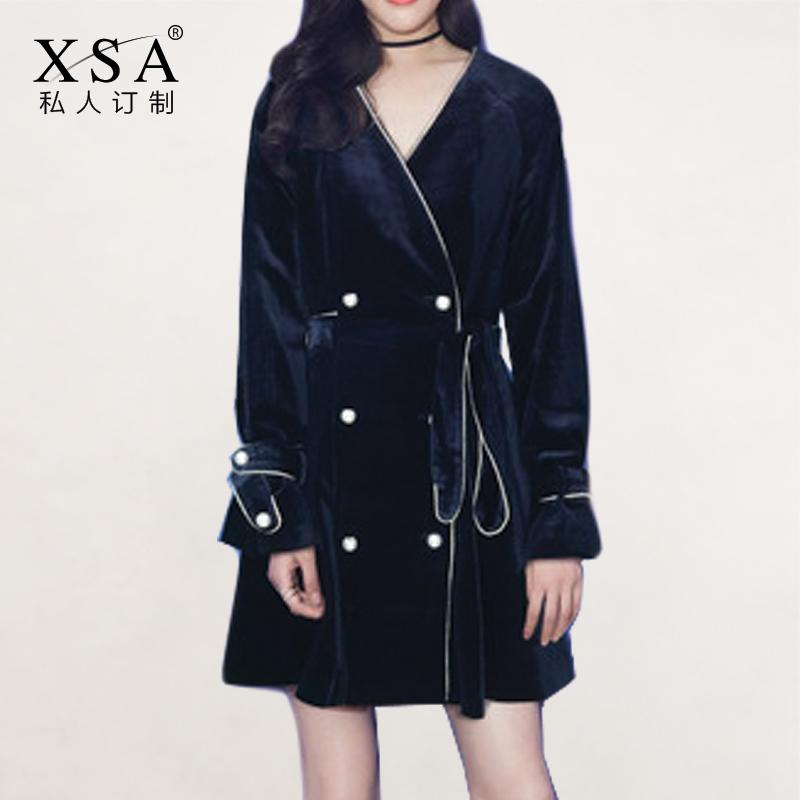 7,26 mùa thu và mùa đông mới [mô hình thiết kế] V-cổ bên khe trong áo khoác đôi ngực dài