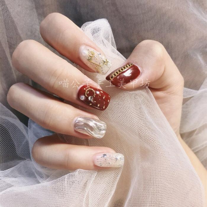 假指甲贴片 铁锈红水波纹星月 新娘穿戴甲片成品短款美甲成品贴片