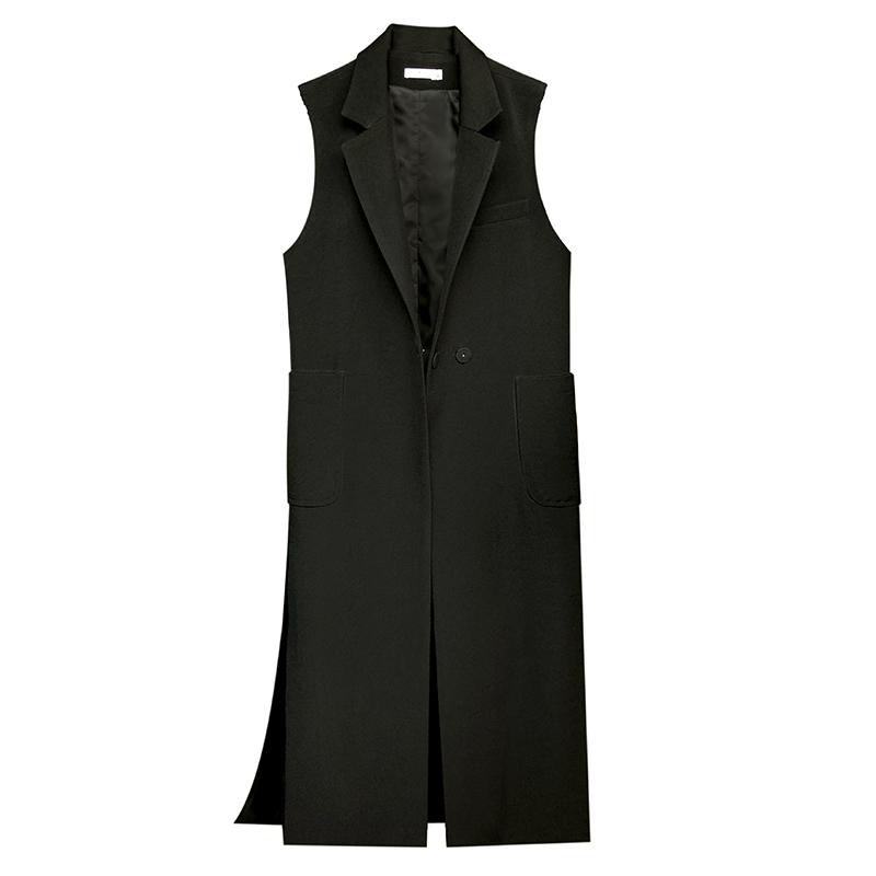 2018 mới mùa xuân và mùa thu phù hợp với cổ áo Hàn Quốc phiên bản của dài màu đen bên chia vest mỏng giảm béo hoang dã không tay áo khoác Áo vest