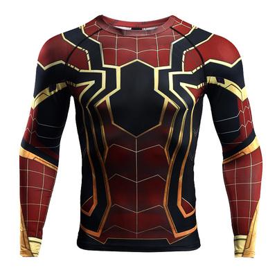 Spiderman Vớ The Avengers 3 Vô Hạn Chiến Tranh Quần Áo Thể Dục Thể Thao Áo Khoác Marvel Dài Tay Áo T-Shirt áo thun unisex Áo phông dài