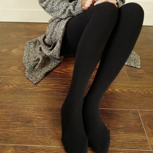 小熊螺纹纯棉高腰竖条纹踩脚连袜打底裤袜