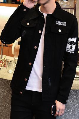 Mùa xuân và mùa thu sinh viên denim màu đen áo khoác nam mỏng Hàn Quốc phiên bản của hoang dã áo khoác nam áo khoác ngoài xu hướng của nam giới quần áo Áo khoác