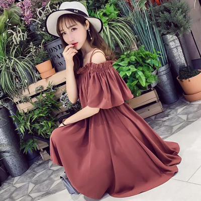 Bạn gái ăn mặc đầm voan Hàn Quốc phiên bản của trường cổ áo cổ áo dây đeo quây chị em ulzzang sản phẩm mới