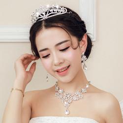 今日特价网新娘头饰婚纱配饰发饰发梳皇冠结婚饰品三件套韩式项链耳环套装