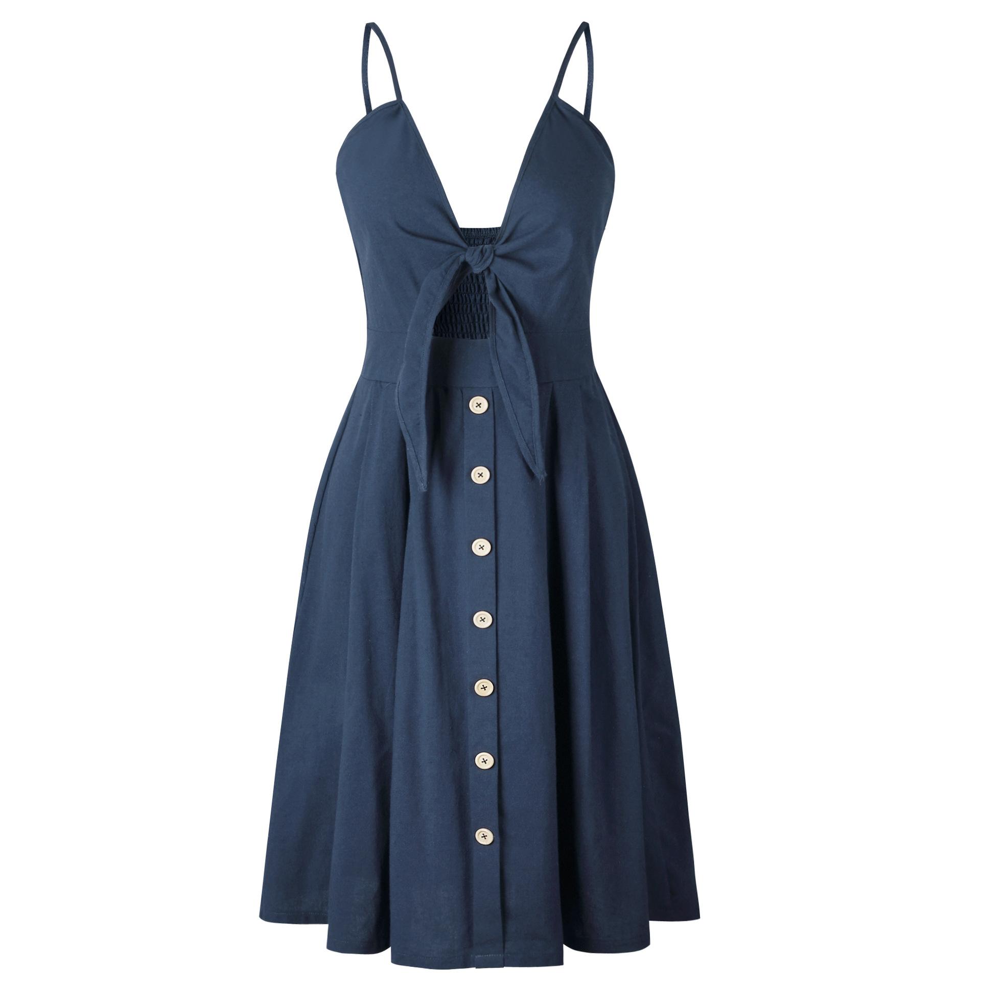 Xin Xin cuộc cách mạng của phụ nữ hot new sexy dây đeo nút halter bow solid color dress 7 màu bốn mét
