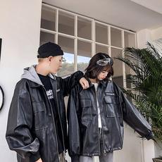 F07-P90 2019春季新款 时尚宽松PU情侣港风帽子可脱卸夹克