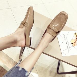 新款包頭半拖鞋外穿粗跟單鞋