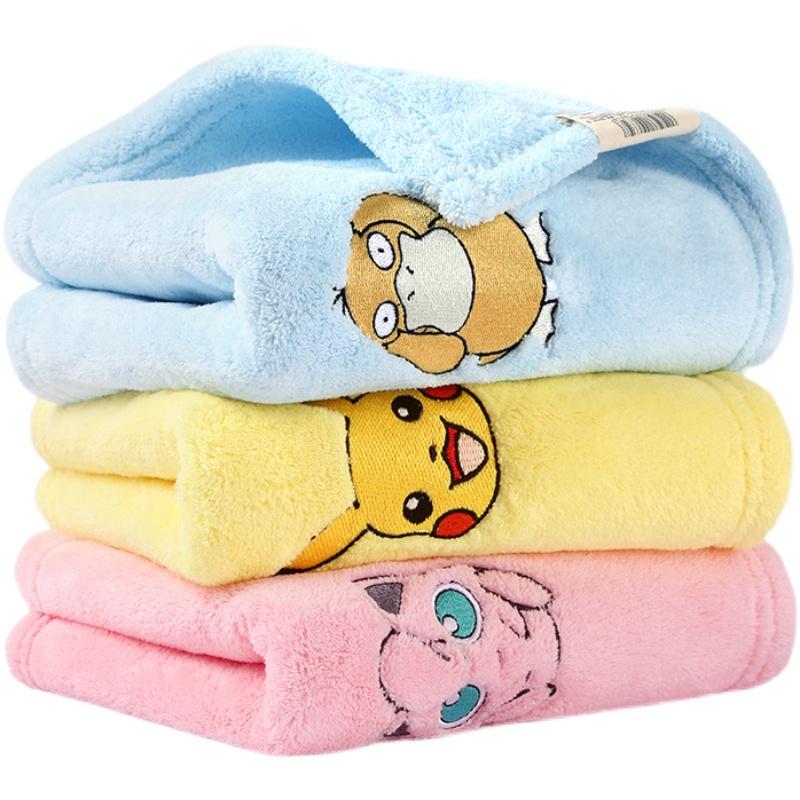 洁丽雅皮卡丘珊瑚绒干发毛巾纯棉家用吸水不掉毛情侣可爱创意一对