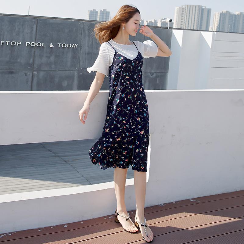 连衣裙女夏2018新款套装裙韩版chic吊带裙两件套雪纺碎花气质裙子