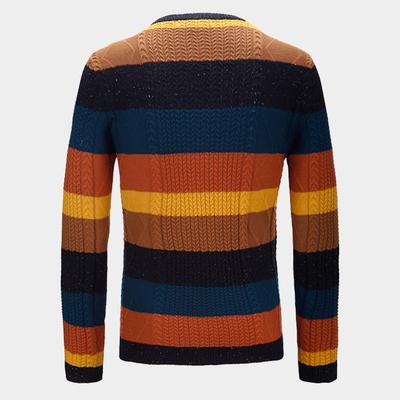 M triều thương hiệu nam mùa thu và mùa đông sọc retro áo len jacquard áo len Slim áo thun dài tay áo len M138 - Kéo qua