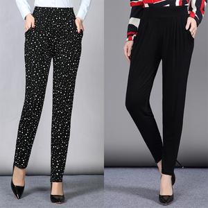 Phụ nữ thời trang mặc chín điểm quần hậu cung bông thoải mái mát mẻ chân quần đàn hồi cao mềm vải giản dị quần mỏng