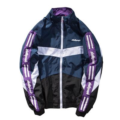 Hàn quốc ulzzang Harajuku bf gió màu cổ áo cổ áo jacket nam loose couple ins đẹp trai xu hướng áo khoác màu tím Áo khoác