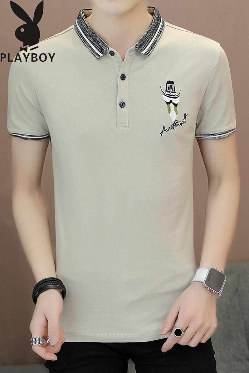 Playboy Ngắn Tay Áo T-Shirt Nam Mùa Hè Mỏng Nửa Tay Áo Sơ Mi Nam Polo Shirt Top Ve Áo T-Shirt
