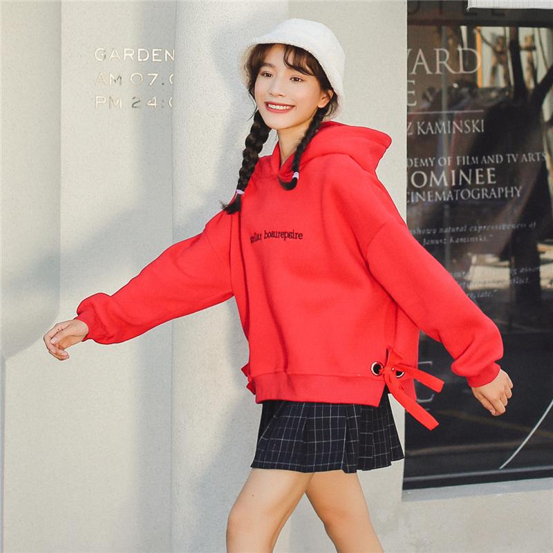 加绒加厚 卫衣女装套头连帽学生2018秋季韩版新款潮宽松外套 1018