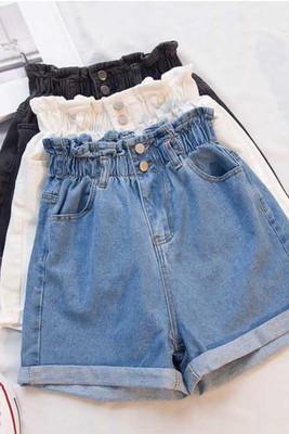 Hàn Quốc phiên bản của quần short denim nữ 2018 mùa hè kích thước lớn chất béo mm đàn hồi eo lỏng mỏng chân rộng eo cao một từ nóng quần
