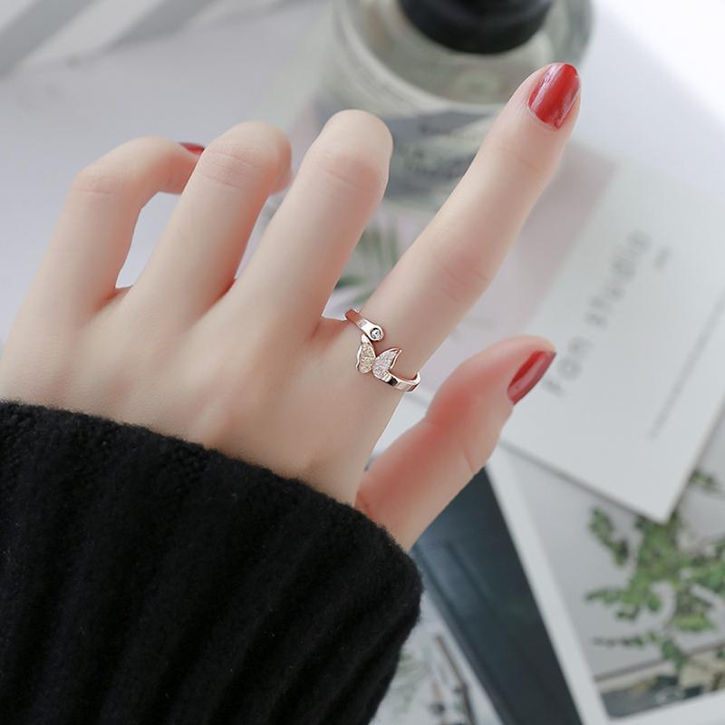 冷淡风开口蝴蝶磨砂食指戒日韩学生时尚潮人女戒指钛钢玫瑰金指环