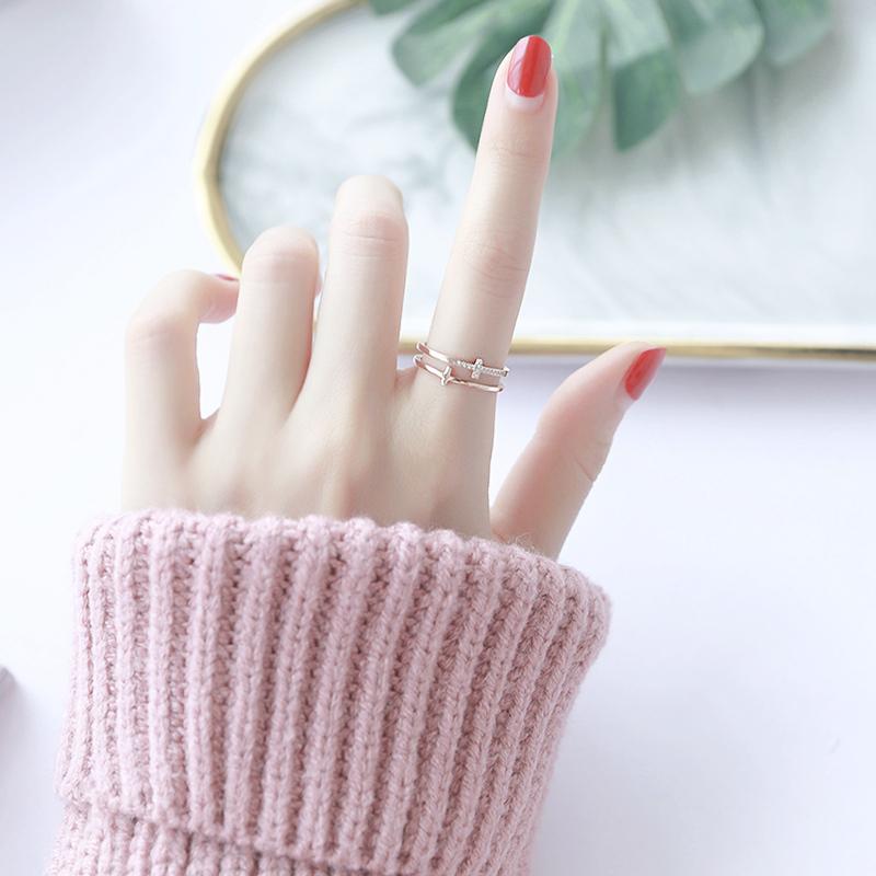日韩镂空双层微镶钻钛钢戒指女 网红个性潮人百搭食指指环饰品