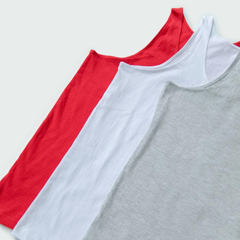 买2送1中老年男背心100%纯棉跨拦大红色本命年老头全棉打底衫内衣