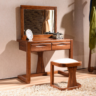 中式实木卧室梳妆台 乌金木化妆台简约小户型收