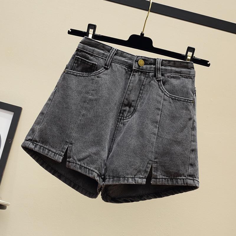 Hàn Quốc phiên bản của retro cao eo quần chân ngã ba quần short denim nữ sinh viên đã mỏng cộng với chất béo xl chất béo mm rộng chân nóng quần