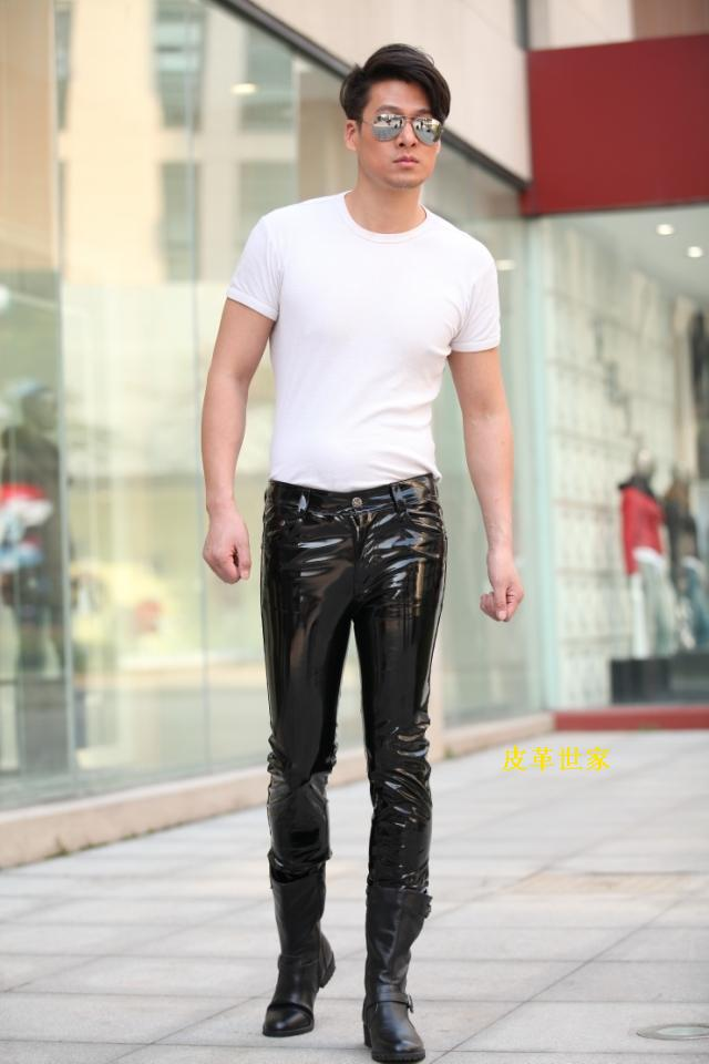 Wholesale Famous Brand Fashion Men Leather Pants Luxury Designer Man