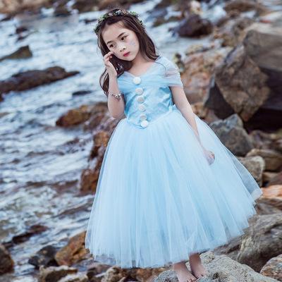 女童灰姑娘连衣裙冰雪奇缘公主裙爱莎礼服裙艾沙儿童蓬蓬纱裙夏季
