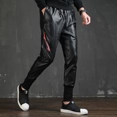 秋季青少年新款男皮裤修身款运动哈伦裤皮裤腰部抽绳紧身收口长裤