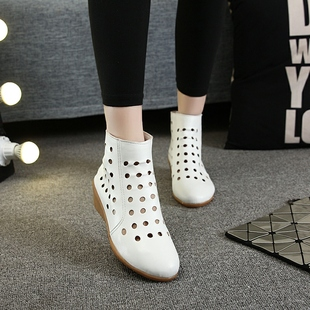 夏季网靴洞洞靴凉靴软底真皮坡跟马丁靴