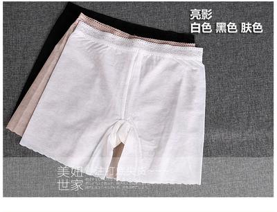 冰丝三分安全裤防走光蕾丝短裤无痕网纱夏薄款弹力显瘦白色打底裤