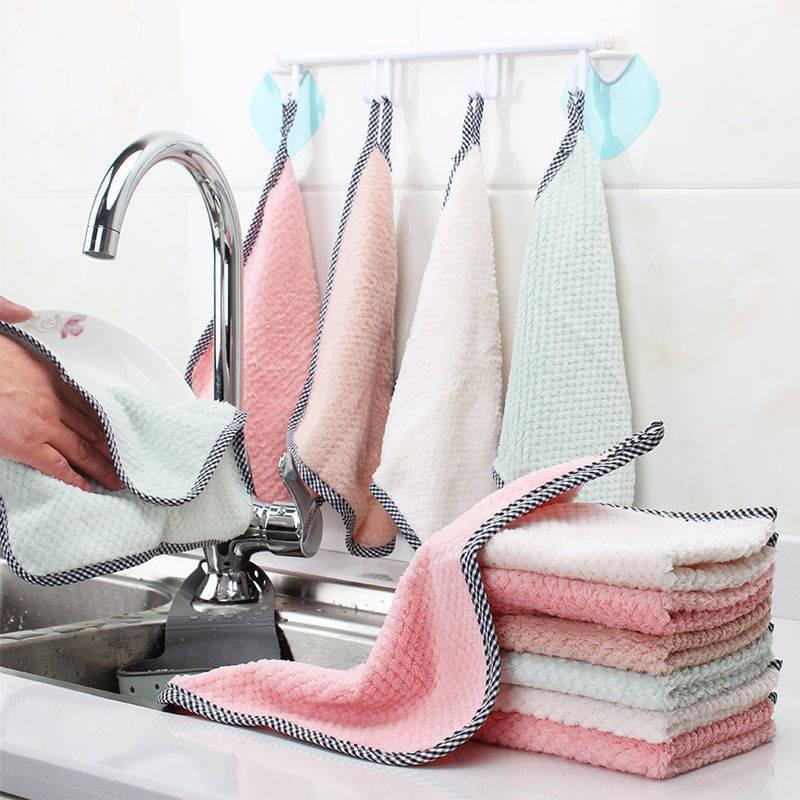 抹布不沾油不掉毛洗碗布去污吸水厨房毛巾