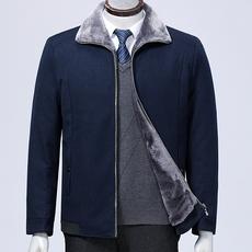 新款加绒夹克男中老年爸爸装一体夹克冬款加厚保暖外套0866