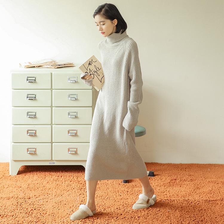 实拍毛衣女秋冬新款韩版宽松慵懒风中长款过膝套头针织连衣裙1908