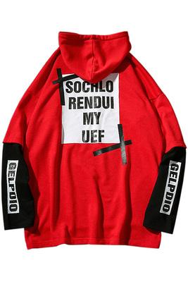 Ins với cùng một áo len nam giới và phụ nữ vài lớp dịch vụ phù hợp với màu sắc giả hai mảnh lỏng áo trùm đầu BF hip-hop hip-hop áo triều Áo len