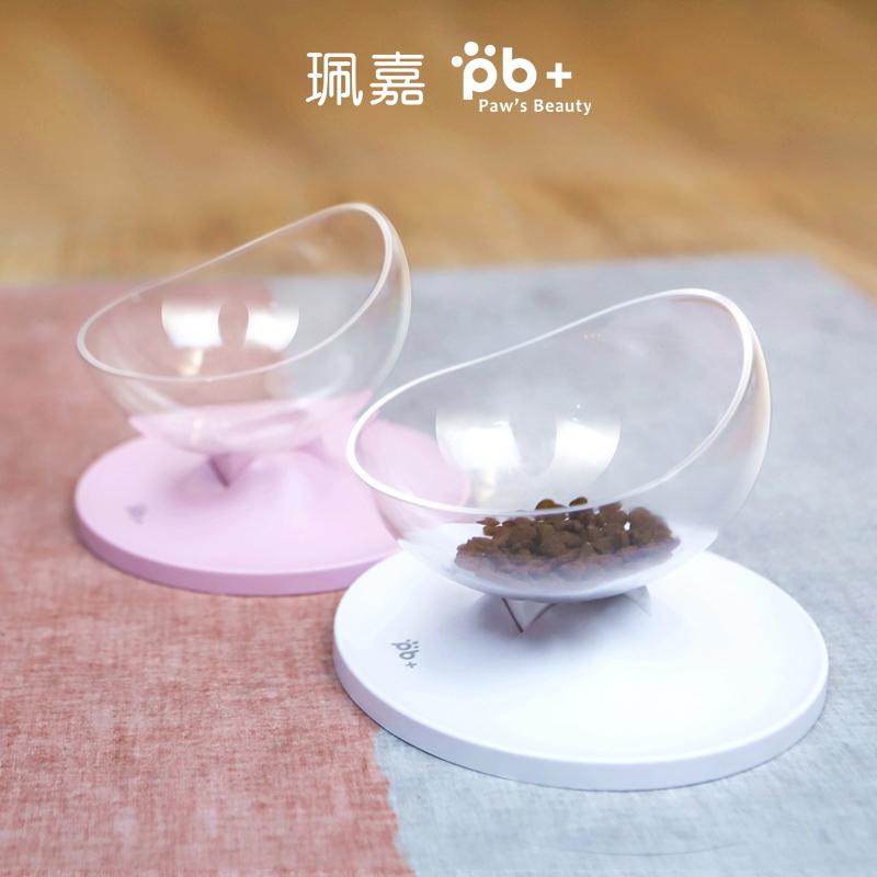 猫咪倾斜猫碗猫食盆保护脊椎小狗泰迪狗狗饭盆扁嘴猫单碗狗槽食槽