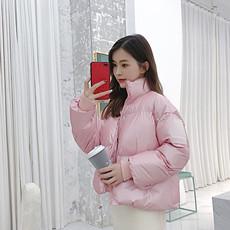 白鸭绒小个子网红短款粉色羽绒服女2018新款冬装加厚面包服外套潮
