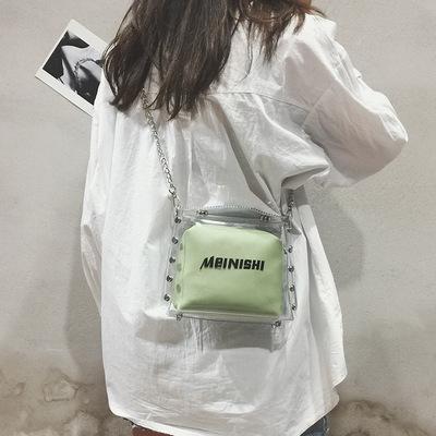 夏天小包包女2018新款潮透明果冻包韩版铆钉链条子母斜挎包小方包