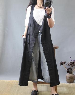 棉麻女装 复古风中式文艺斜盘扣长马夹 背心式连衣裙