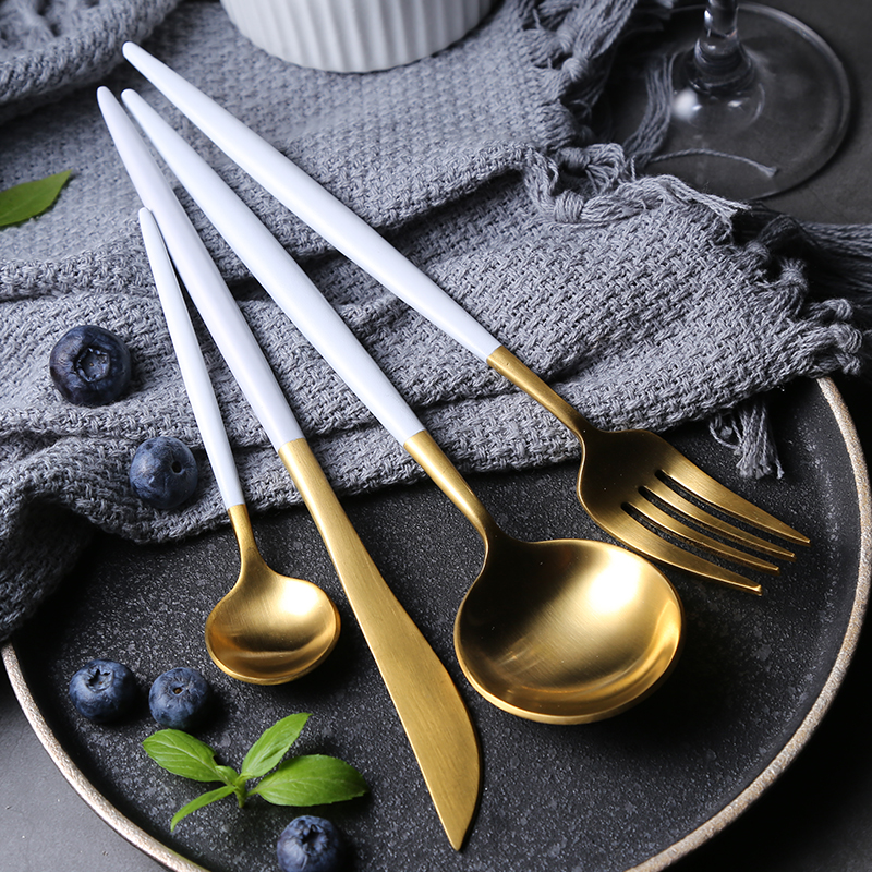 Ins Nordic Net Red Knife And Fork Spoon Three Piece Set Household Stainless Steel Cutlery