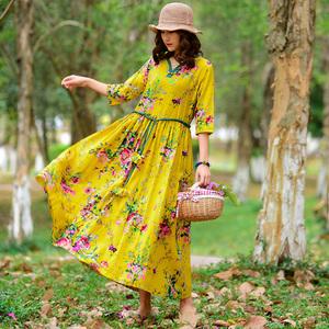 2018 mùa thu mới kích thước lớn du lịch của phụ nữ kỳ nghỉ bãi biển dress XL loose dress mùa xuân và mùa thu váy dài