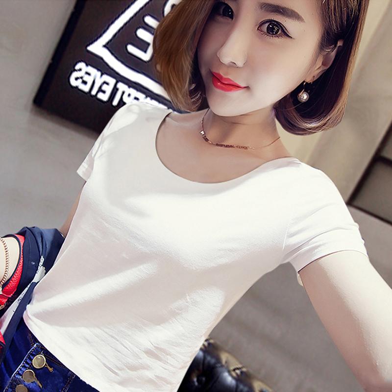 韩版高腰短款露脐短袖t恤女修身显瘦漏肚脐百搭上衣紧身新款体恤