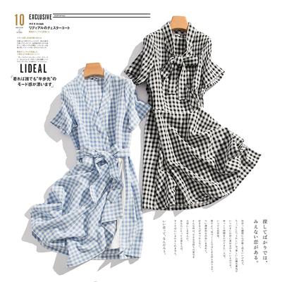 Rất mùa hè thường ~ váy bất thường kẻ sọc Tươi ngắn tay dài V cổ áo ăn mặc nữ B0 9 38