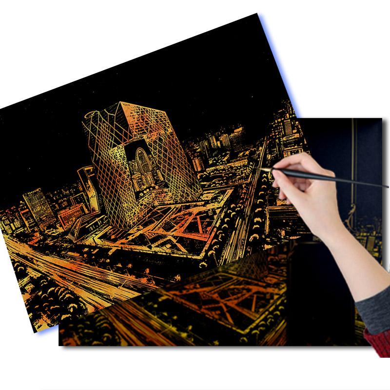 城市夜景刮刮画
