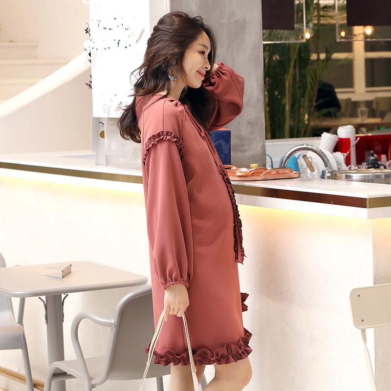 AMUM原创设计撞色加厚雪纺连衣裙打底裙