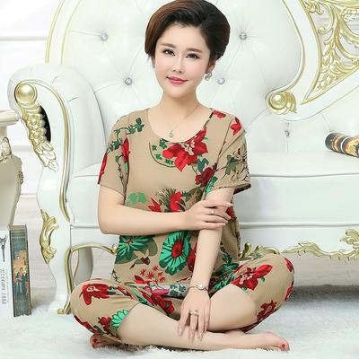 韩版睡衣女春夏季纯棉绸短袖中老年女装绵绸可外穿妈妈家居服套装可领取淘宝优惠券5元