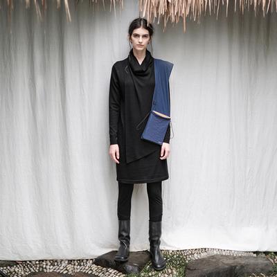 日着原创设计师【隐侠】秋季新款 黑色长袖解构羊毛连衣裙女